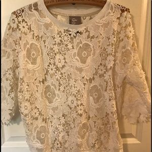 Beautifully crafted layered lace cotton top